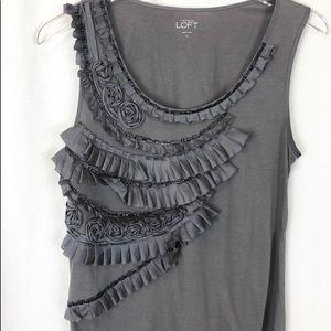 LOFT * gray dressy tank • loose fit • M